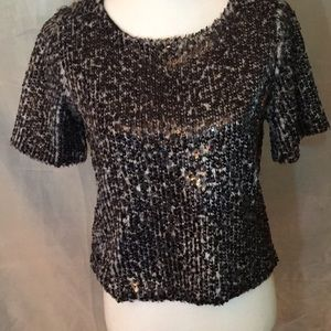 Search for Sanity faux fur and sequins top